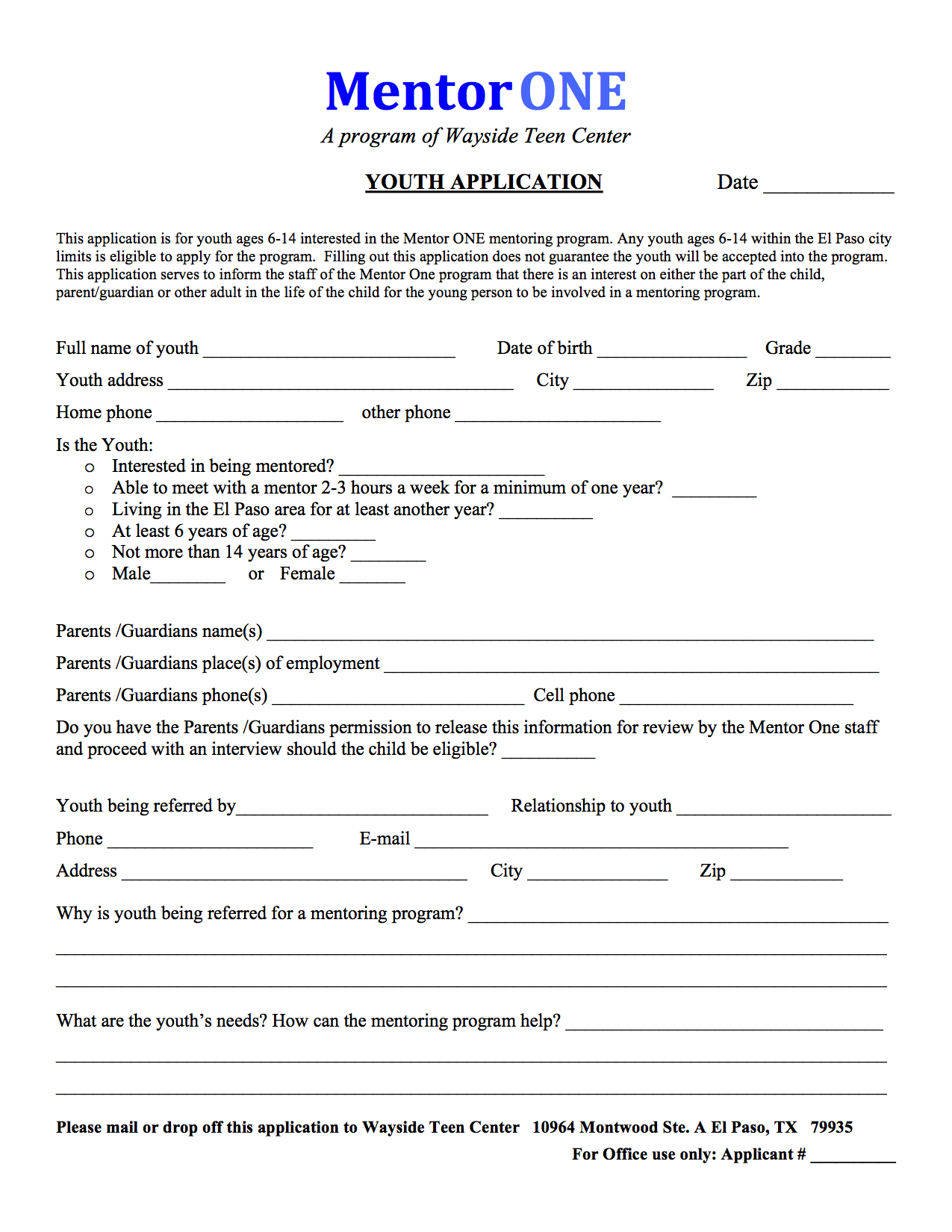 mentoring application templates - waysideteencenter mentor one